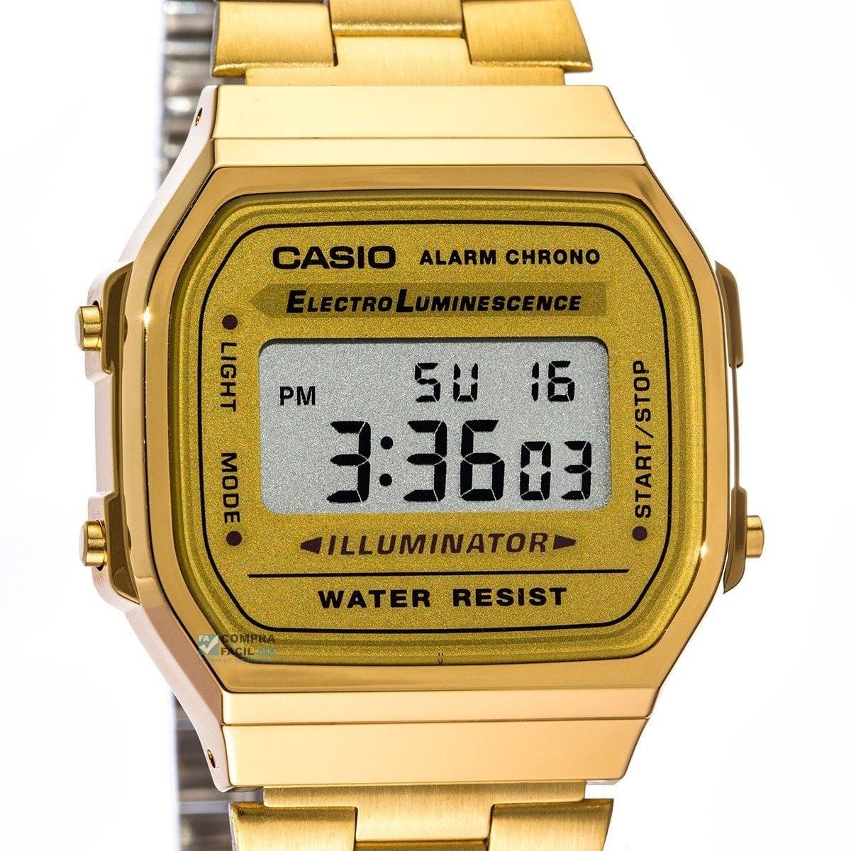 f5f97c91b4b relógio digital aço vintage dourado retrô casio. Carregando zoom.