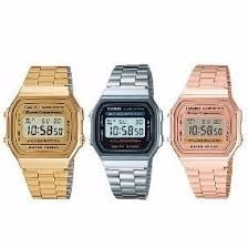 1e7b25307cf Relógio Digital Aço Vintage Unisex Prata Dourado Novo - R  64