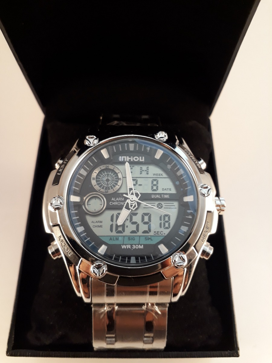 ebd0471d7ec Relógio Digital Analógico Prova Dágua Aço Inox Na Caixa - R  120