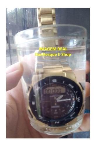 relógio digital analógico skmei 1370 dourado