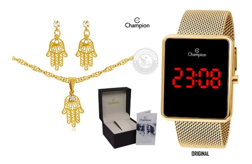 relógio digital calendário dourado ch400 original + semijoia