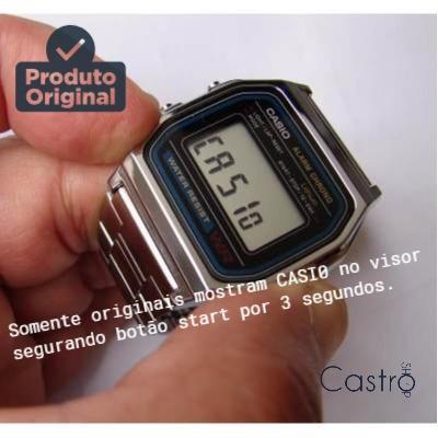 relogio digital casio a158 retrô vintage prata - original