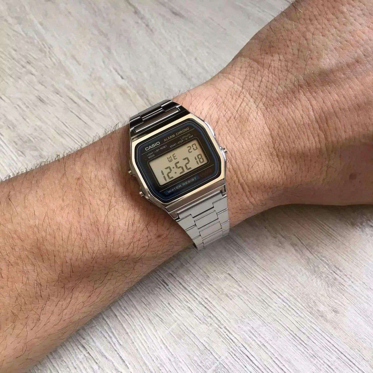 7ab14177f76 Relógio Digital Casio A158wa Retrô Vintage Prata + Caixa - R  120