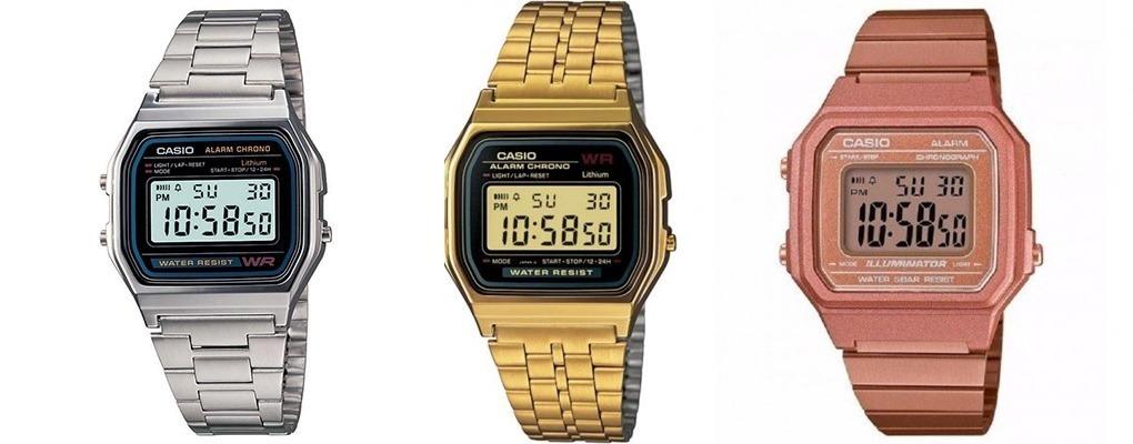 4ab1d5bb555 relógio digital casio vintage unissex prata dourado barato. Carregando zoom.