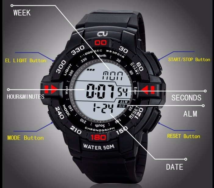 f46d0ccacc5 Relógio Digital Cj2001 - Original Digital Completo - 2 Cores - R  48 ...