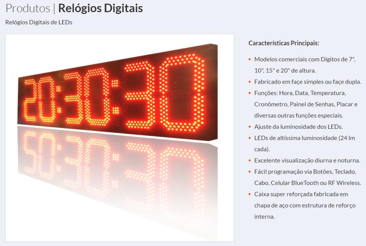 7396107e3592 Relógio Digital De Leds Hora min seg 6 Digitos 87 X 20cm - R  1.199 ...