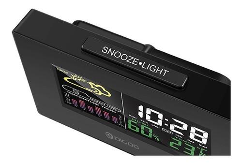 relógio digital despertador previsão do tempo lcd digoo