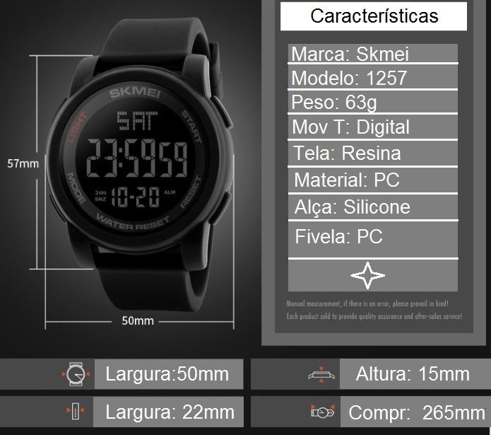 ef46e48ad06 Relogio Digital Esportivo A Prova D agua Skmei 1257 Original - R  89 ...