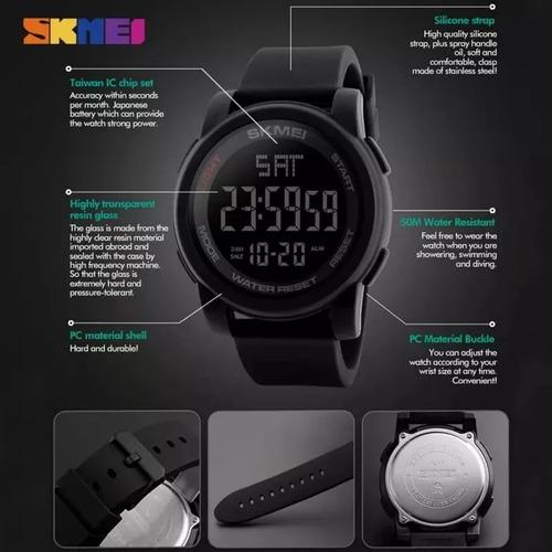 relógio digital esportivo masculino prova d´água skmei 1257