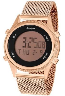 relógio digital feminino champion rosê ch48082z alarme+brind