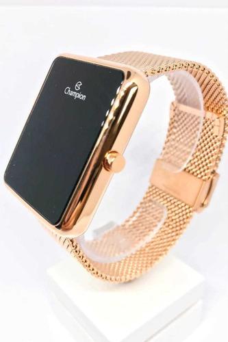 relógio digital feminino quadrado rosê champion ch40080p