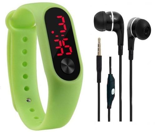 relógio digital led academia sport + fone de ouvido promoção