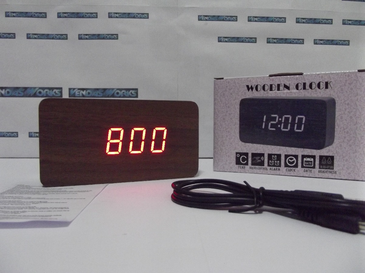 56930a36e4e relógio digital led cabeceira com termômetro estilo madeira! Carregando  zoom.