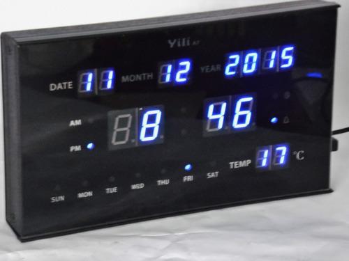 relógio digital led de mesa c/ despertador visor azul