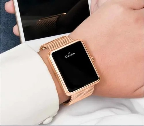 relógio digital led rose ch4008 + semijoia champion original