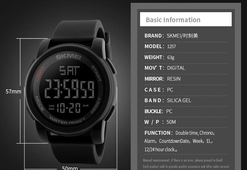0f4740dc1df Relógio Digital Led Skmei Modelo 1257 - Original - R  89