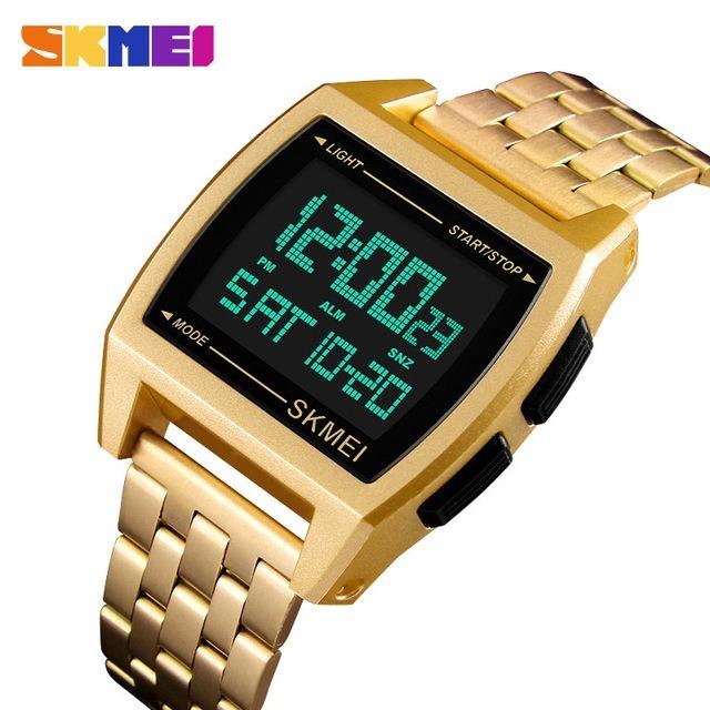 ff15c02082d Relógio Digital Masculino Dourado Skmei 1368 - R  120