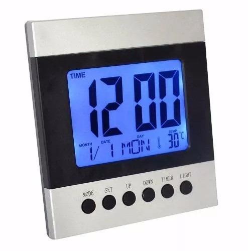 relógio digital mesa e parede com luz noturna despertador