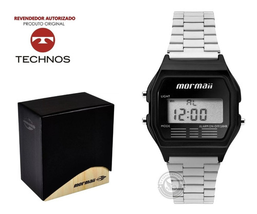 relógio digital mormaii feminino unissex mojh02al/4p prata