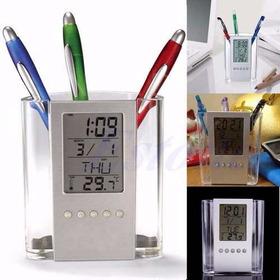 Relógio Digital Organizador De Mesa Porta Lapis Caneta