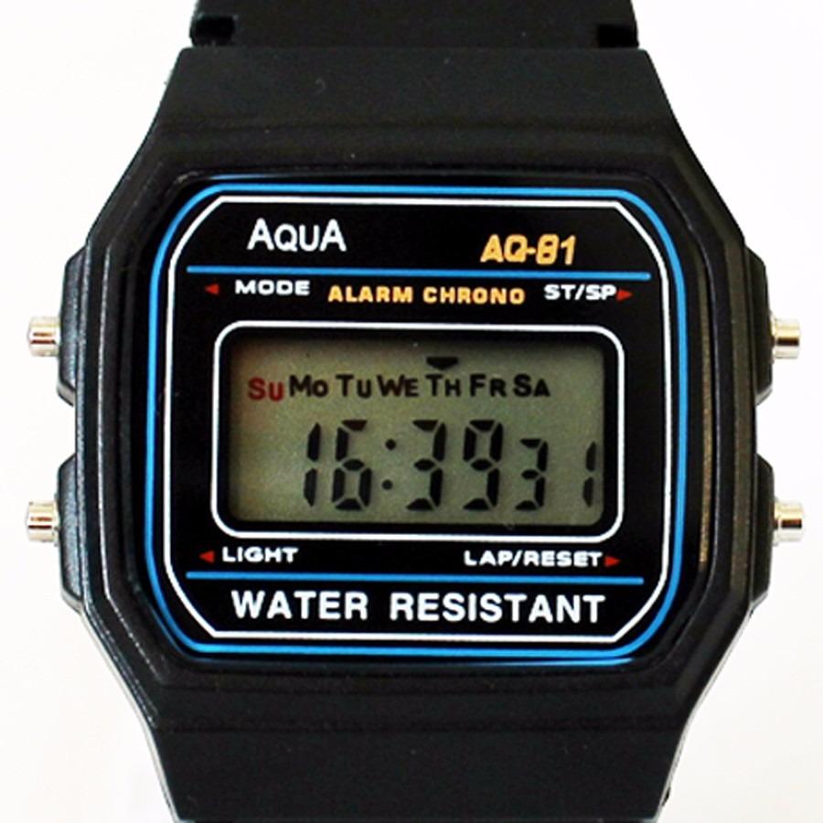 d97601e3d10 relógio digital original aqua aq 81 a prova d agua. Carregando zoom.