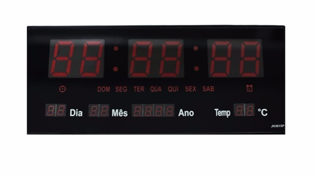 432410f7e7b Relogio Digital Parede Luminoso Alarme Calendário Português - R  154 ...