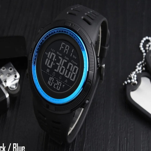 relógio digital  prova d'água skmei 1251 azul+preto barato.