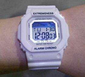 relógio digital pulso masculino feminino branco prova dagua