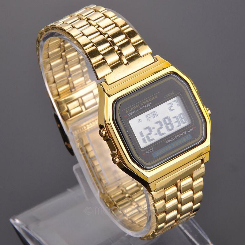 84323225d97 relógio digital vintage dourado swag social gold. Carregando zoom.