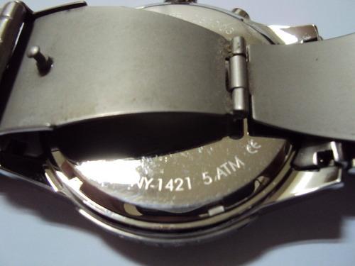 relógio dkny modelo ny-1421 todo em inox