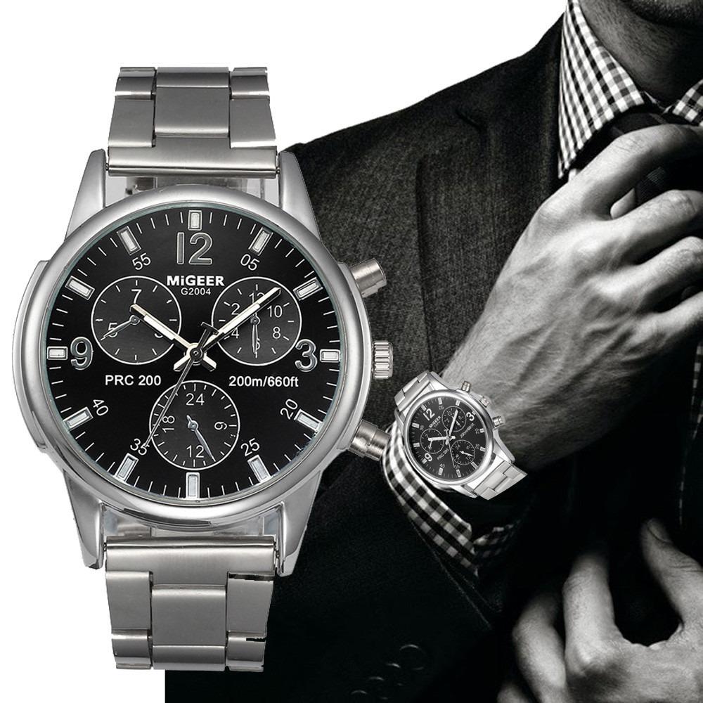 5516dffb627 relógio dos homens homens da moda cristal de aço inoxidável. Carregando  zoom.
