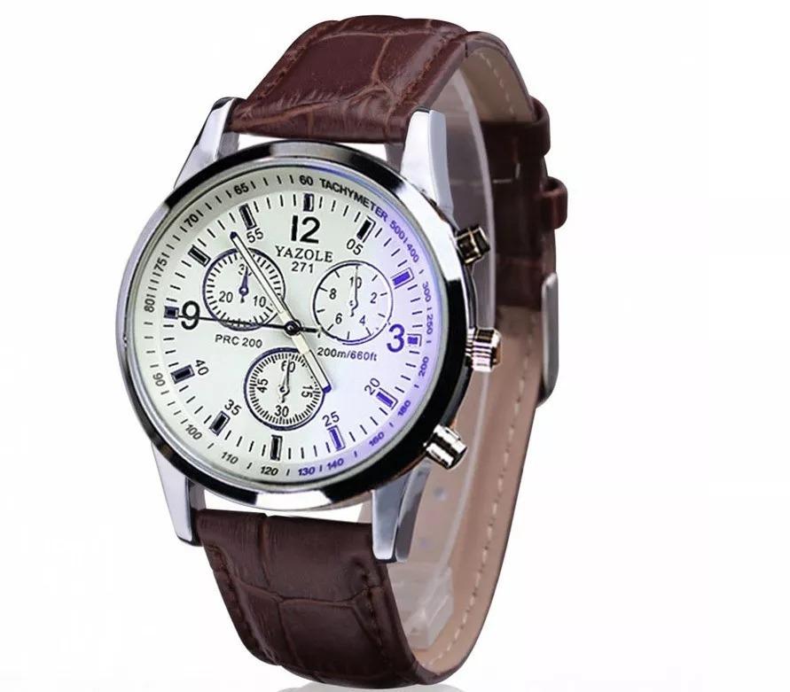 2224e9a7d2c relógio dos homens-luxo couro pulseira quartz barato. Carregando zoom.