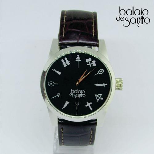 relógio dos orixás masculino preto / marrom escuro