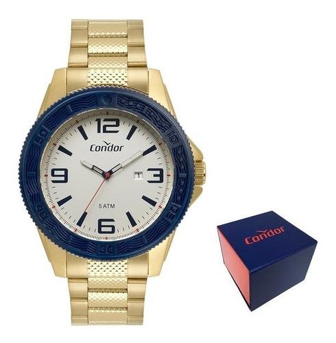 relógio dourado aço inox condor blue co2115kvo/4b original