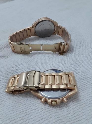 relógio dourado arrojado  robusto