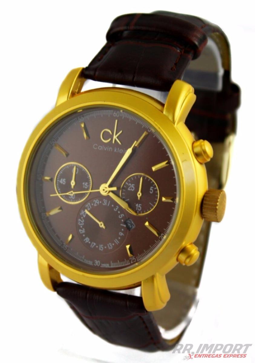 c93d400131f relógio dourado ck masculino social + brinde. Carregando zoom.