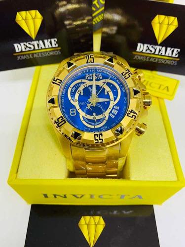 relógio dourado combo ostentação + brinde pulseira 7mm