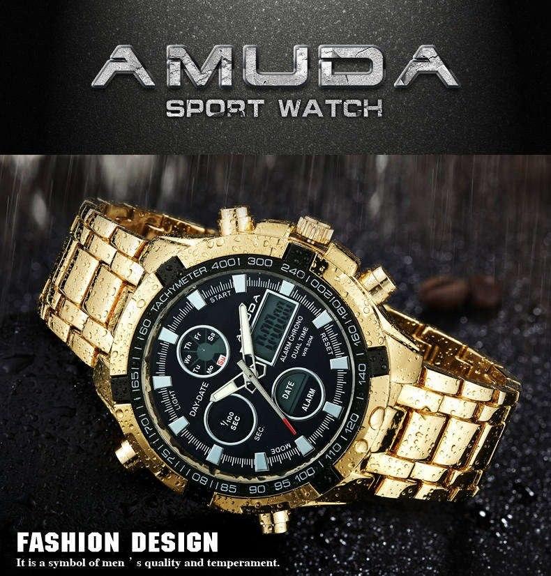 33bc3529717 Relógio Dourado De Luxo Masculino Amuda - Modelo 2002 - R  1.150