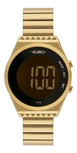 relógio dourado euro feminino digital slim eubjt016aa/4d  nf