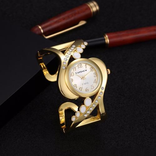relogio dourado feminino barato bracelete varios modelos