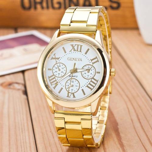 relógio dourado feminino conjunto pulseira folheado ouro