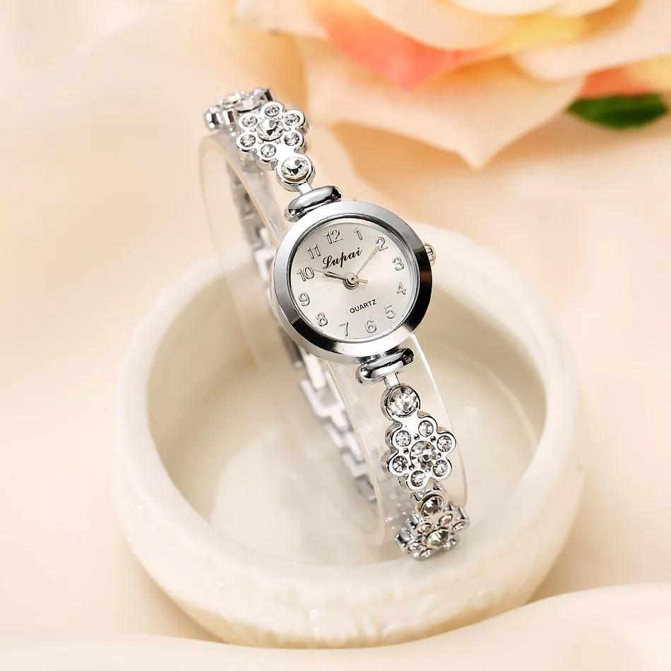 29012373d2a relógio dourado feminino de pulso quartz pulseiras com pedra. Carregando  zoom.