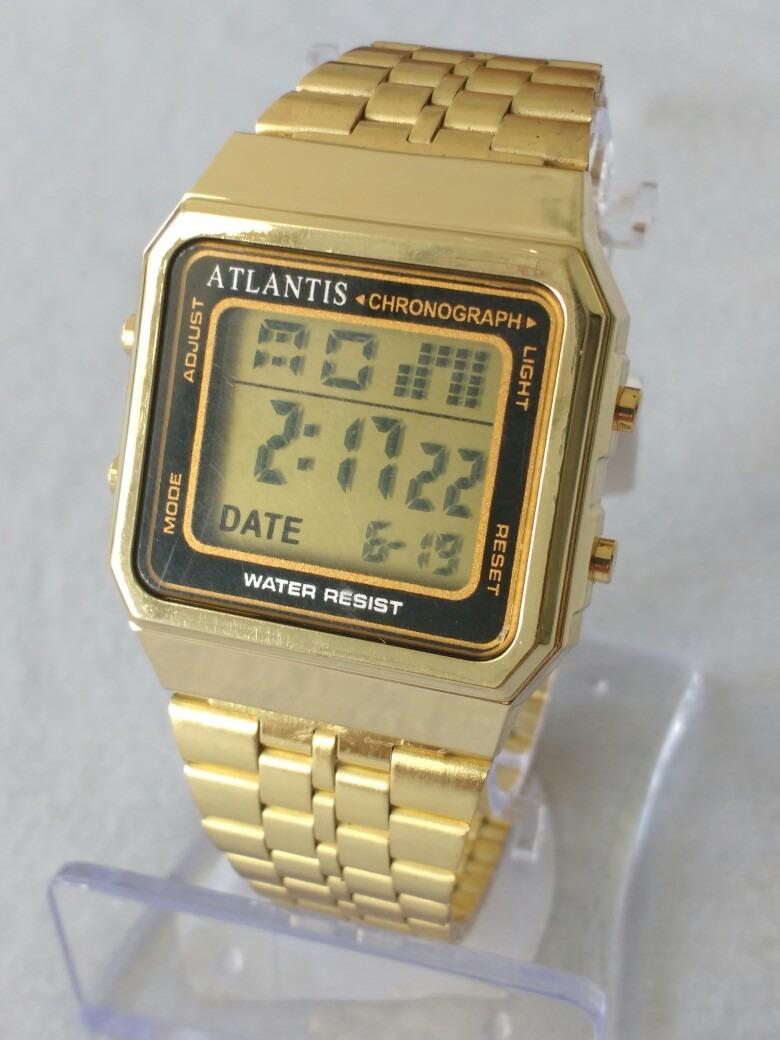 50738cd3516 relógio dourado feminino digital atlantis original. Carregando zoom.