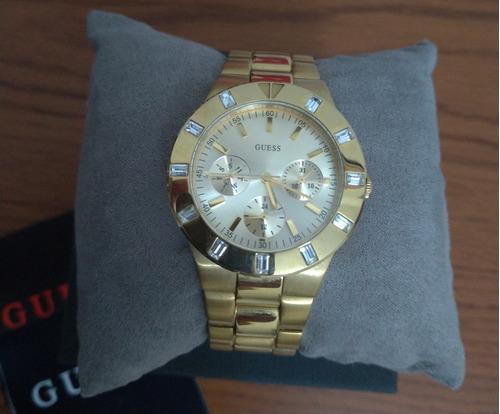 relógio dourado guess