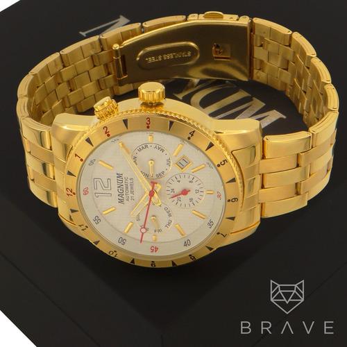 relógio dourado magnum automático ouro 2 anos garantia + nf