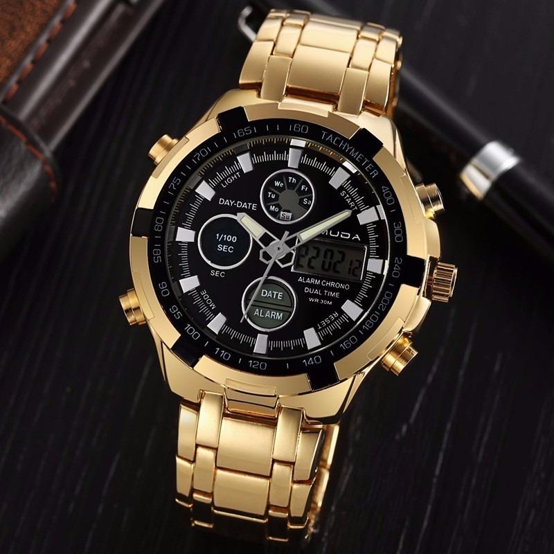 c7ac50791f8 relógio dourado masculino amuda casual luxo pronta entrega. Carregando zoom.