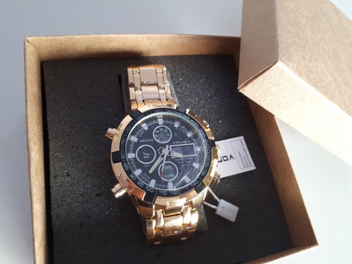 2f06afd635c relógio dourado masculino amuda luxo modelo 2002. Carregando zoom.