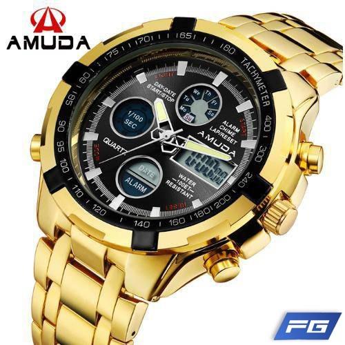 633222a4c0d Relógio Dourado Masculino Amuda Luxo Modelo 2002 - R  150