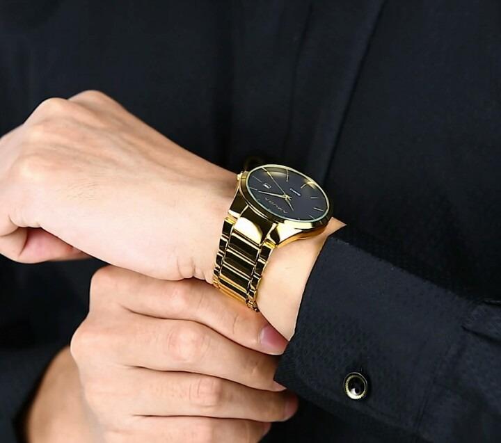 0ef819637eb Relógio Dourado Masculino Amuda Luxo Promoção Barato - R  120