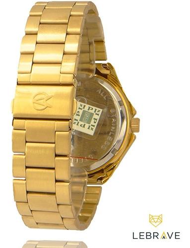 relógio dourado masculino champion ouro 18k garantia 1 ano